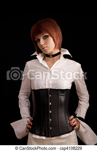 Attractive girl in white blouse and leather corset  - csp4108229