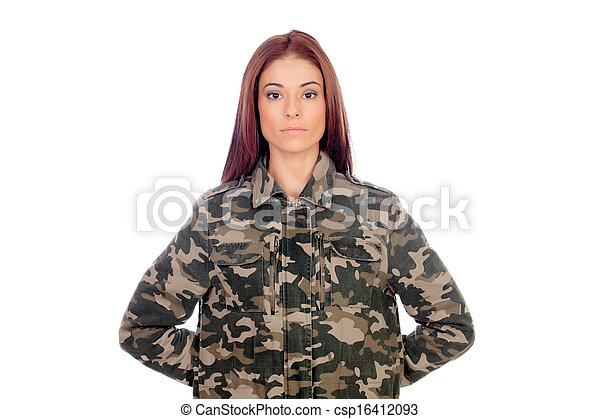 Attractive girl with military style jacket - csp16412093