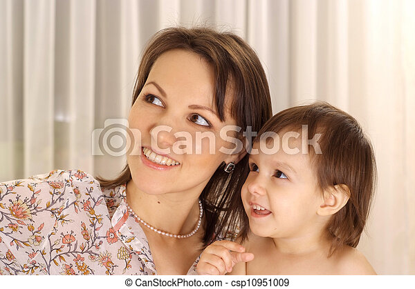 Attractive girl with mom - csp10951009