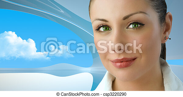 Attractive green-eyed young businesswoman - csp3220290