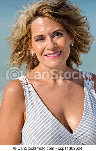 Attractive Middle Age Woman in Sundress - csp11382624