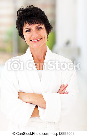 attractive middle aged woman in pajamas - csp12888902