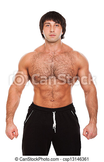 Attractive muscular guy isolated - csp13146361