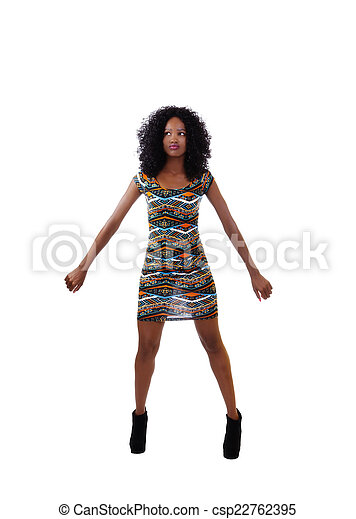 Attractive Skinny African American  Woman Dress - csp22762395
