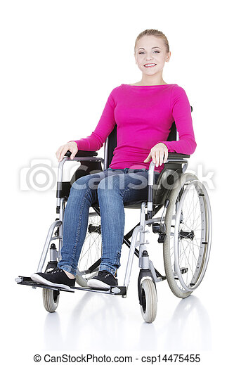 Attractive smiling disabled woman sitting in a wheel chair  - csp14475455