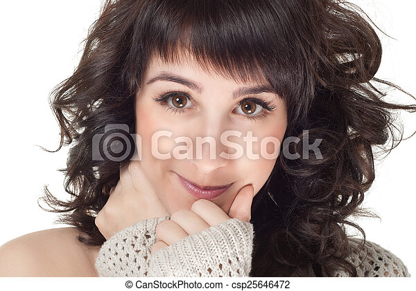 attractive smiling woman portrait on white background - csp25646472