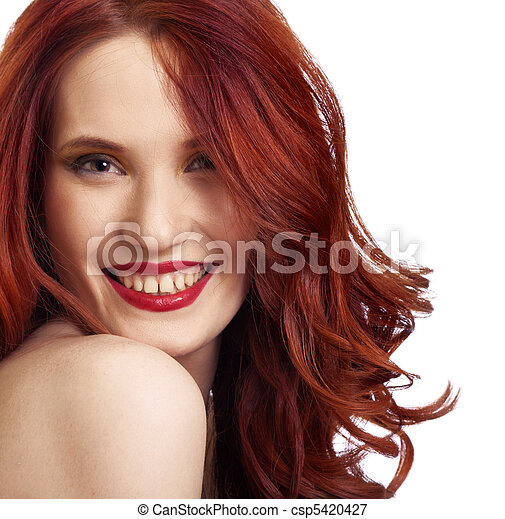 attractive smiling woman portrait on white background - csp5420427
