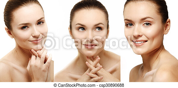 Attractive smiling woman portrait on white background. - csp30890688