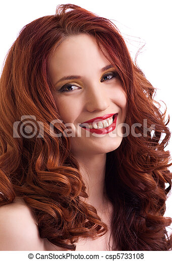 attractive smiling woman portrait on white background - csp5733108