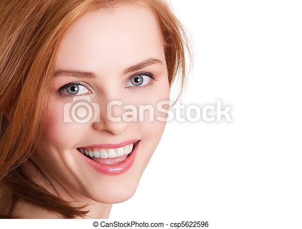attractive smiling woman portrait on white background - csp5622596