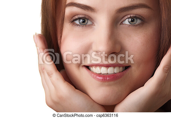 attractive smiling woman portrait on white background - csp6363116