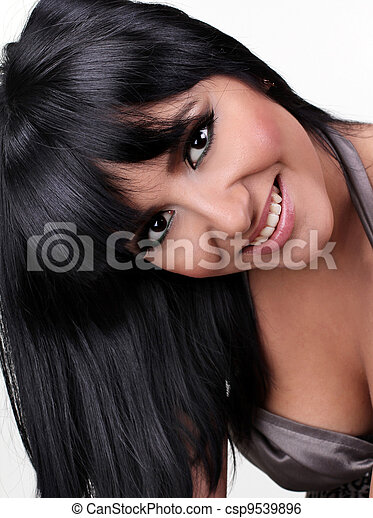 attractive smiling woman portrait on white background - csp9539896