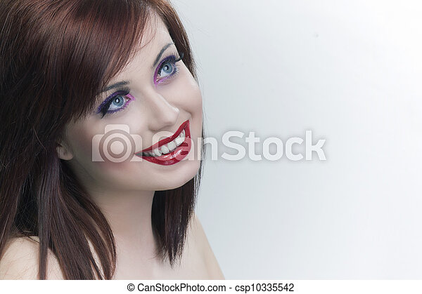 attractive smiling woman portrait on white background - csp10335542