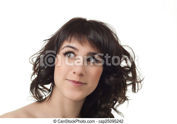 attractive smiling woman portrait on white background - csp25095242