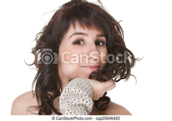 attractive smiling woman portrait on white background - csp25646420