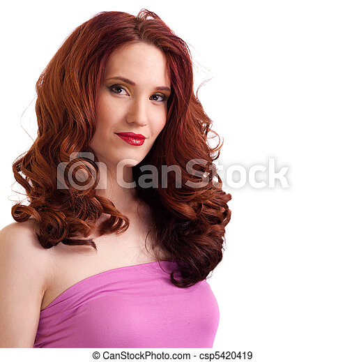 attractive smiling woman portrait on white background - csp5420419