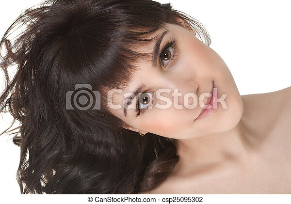 attractive smiling woman portrait on white background - csp25095302