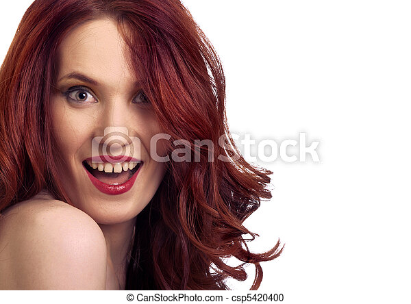 attractive smiling woman portrait on white background - csp5420400
