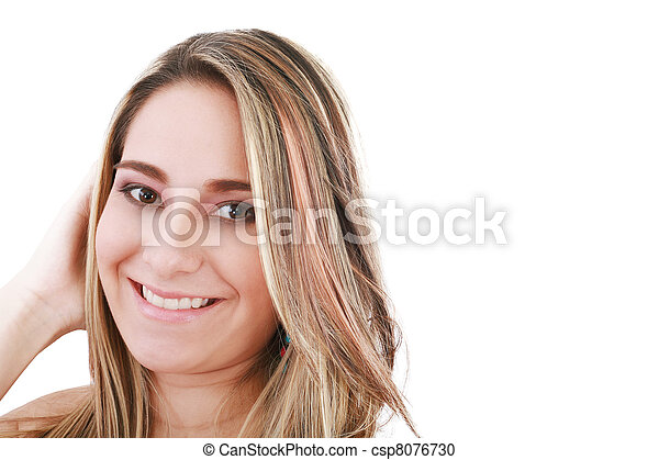 attractive smiling woman portrait on white background - csp8076730