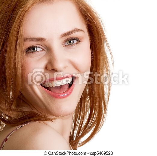 attractive smiling woman portrait on white background - csp5469523