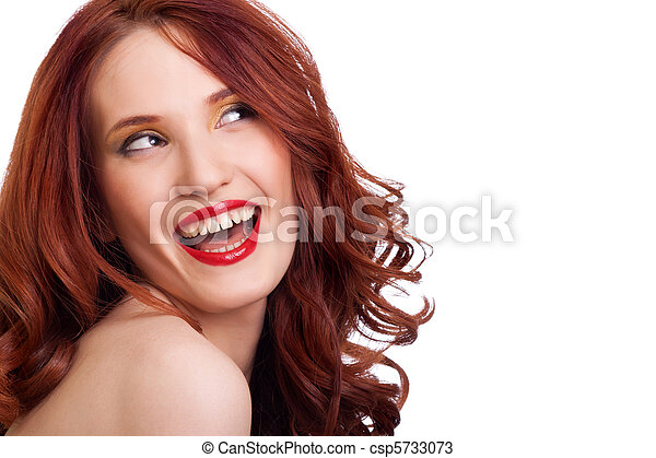 attractive smiling woman portrait on white background - csp5733073