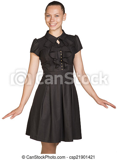 Attractive smiling young woman in black dress - csp21901421