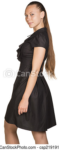 Attractive smiling young woman in black dress - csp21919131