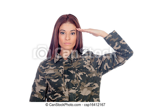 Attractive soldier giving a military salute  - csp16412167