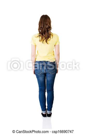Attractive standing woman. Back view.  - csp16690747