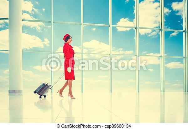 Attractive stewardess - csp39660134