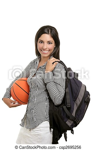 Attractive student with bag and basketball ball - csp2695256