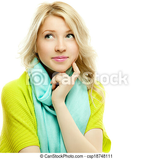 attractive thoughtful blond woman - csp18748111
