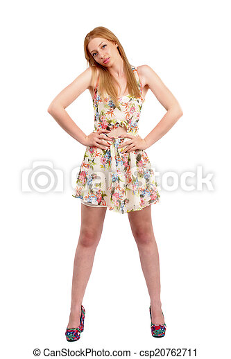 attractive woman in dress posing on white background - csp20762711