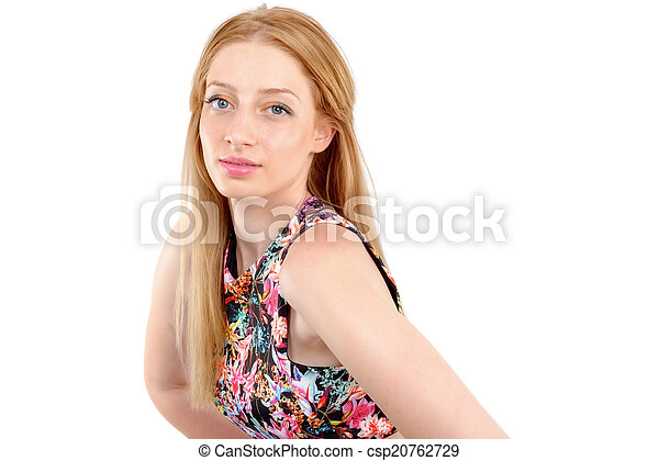 attractive woman in dress posing on - csp20762729