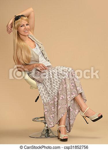 Attractive woman in dress - csp31852756
