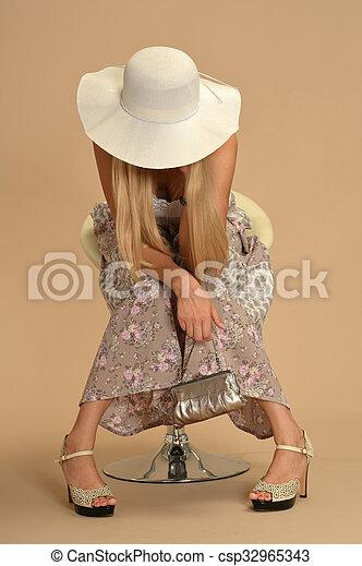 Attractive woman in dress - csp32965343