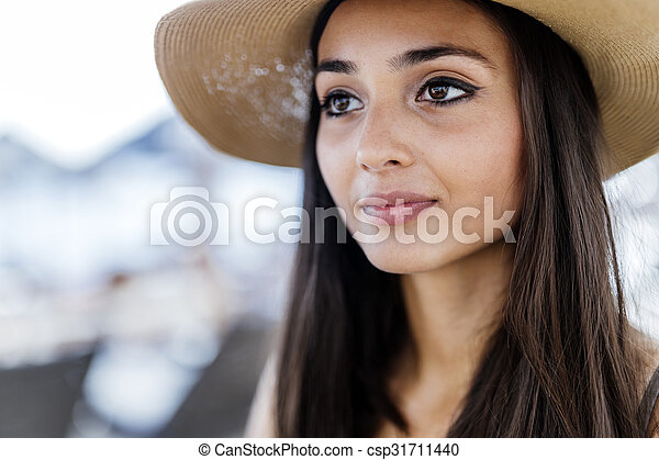 Attractive woman in hat - csp31711440