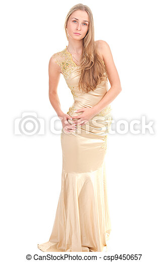 attractive woman in yellow dress - csp9450657