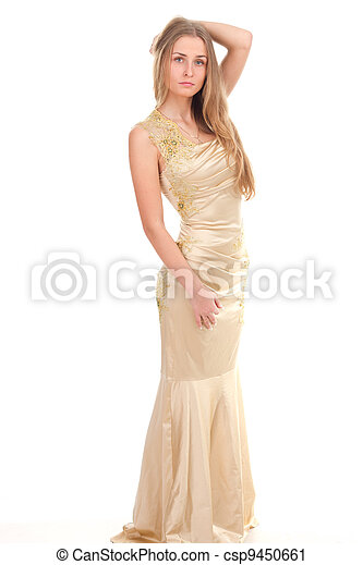 attractive woman in yellow dress - csp9450661