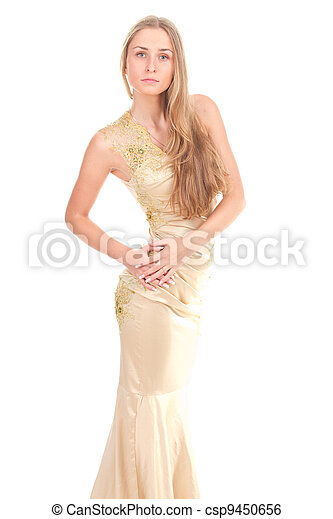 attractive woman in yellow dress - csp9450656