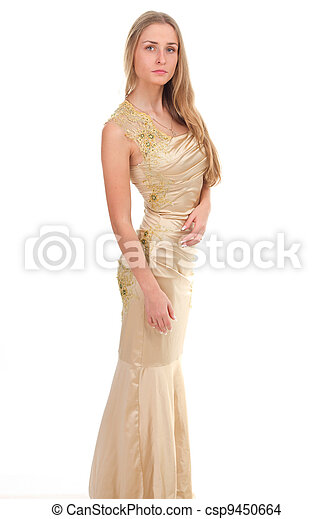 attractive woman in yellow dress - csp9450664