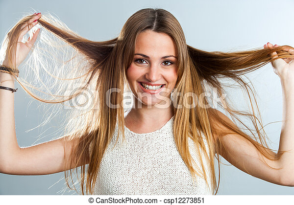 With hair playing woman 6 Women