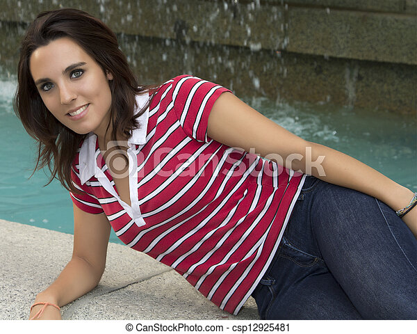 attractive woman sitting on the floor - csp12925481