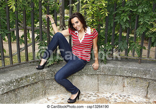 attractive woman sitting on the floor - csp13264190