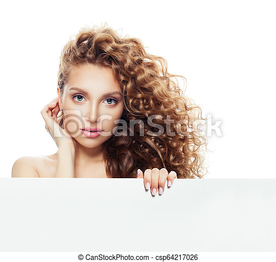 Attractive Woman With Long Wavy Hair Holding White Empty Paper Banner Background