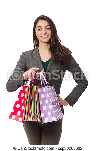 Attractive woman with shopping bags isolated on white - csp30263602