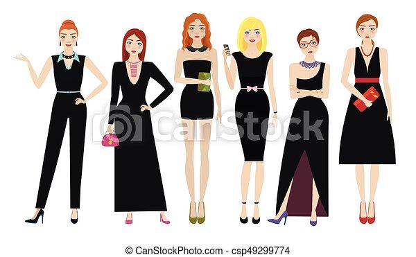 Attractive women in elegant black dresses - csp49299774