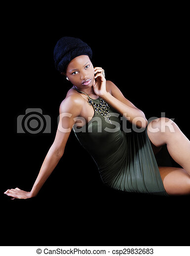 Attractive Young African American Woman Sitting Green Dress - csp29832683