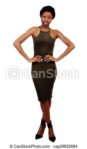 Attractive Young African American Woman Standing Green Dress - csp29832684