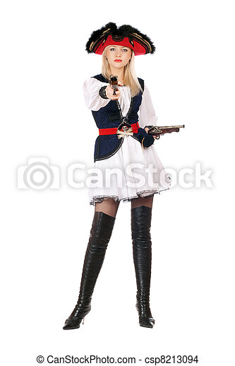 Attractive young blonde with guns - csp8213094